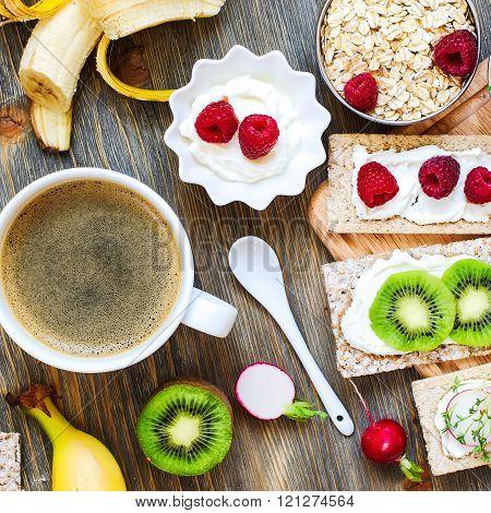 Healthy Breakfast With Crispbread, Berries, Yogurt And Cress, Square