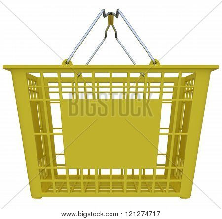 Yellow Shopping Basket Isolated Over White Background