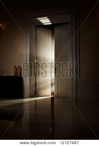 Mysterious rays of light behind door