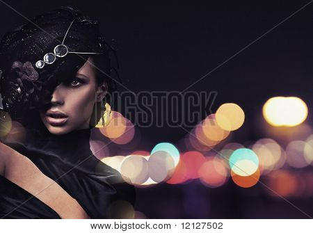 Fashion lady over city background