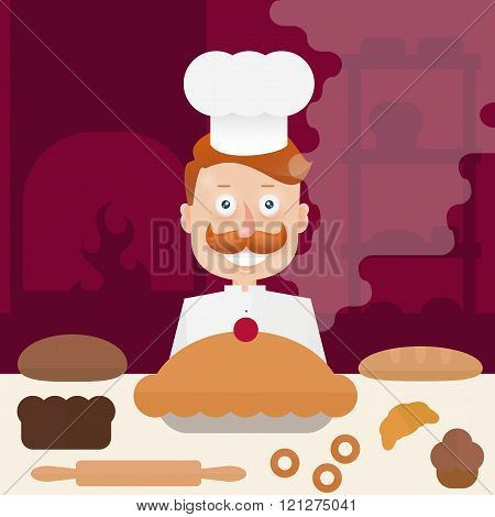 Baker With  Mustache In Cap At The Bakery At The Table. Flat Line Illustration.