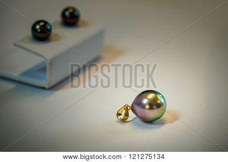Tahitian black pearls on display