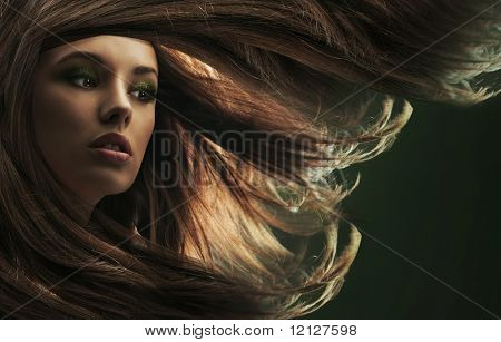 Beautiful lady with long brown hair