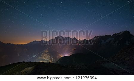 Monte Bianco (mont Blanc) Nightscape With Starry Sky