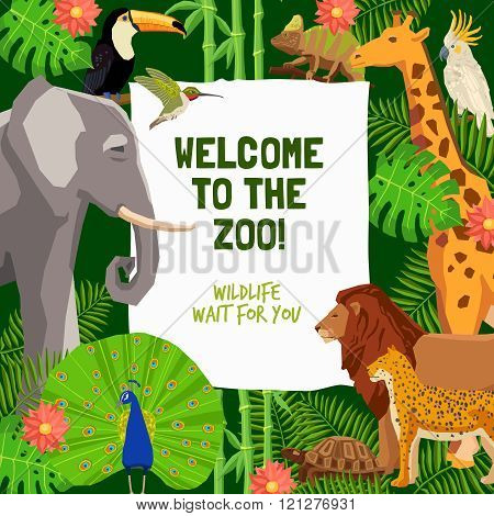 Colorful Poster With Invitation To Visit Zoo