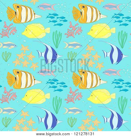 Seamless Pattern With Sea Fish.