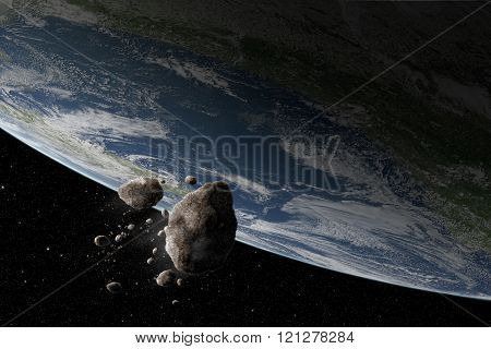 Cosmos scene with asteroid and planet Earth