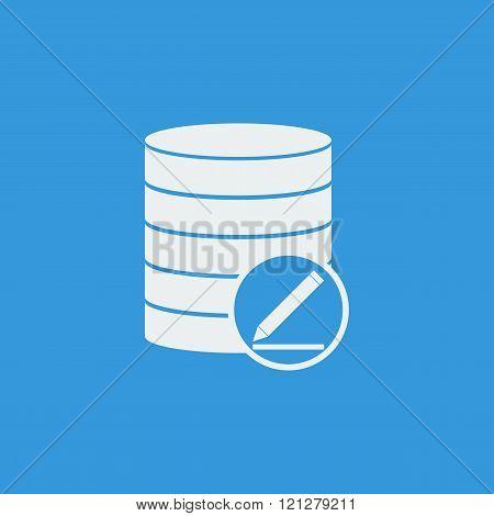 Database-modify Icon, On Blue Background, White Outline, Large Size Symbol