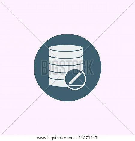 Database-modify Icon, On Blue Circle Background, White Outline