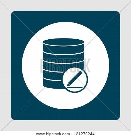 Database-modify Icon, On White Circle Background Surrounded By Blue