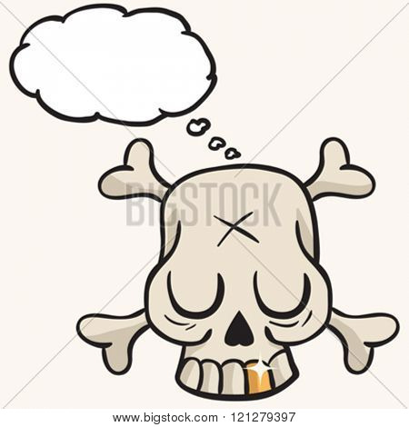 cute skull with golden tooth and thought bubble cartoon