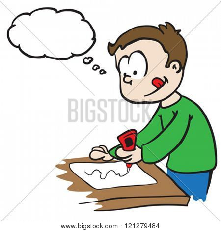little boy with thought bubble gluing paper cartoon