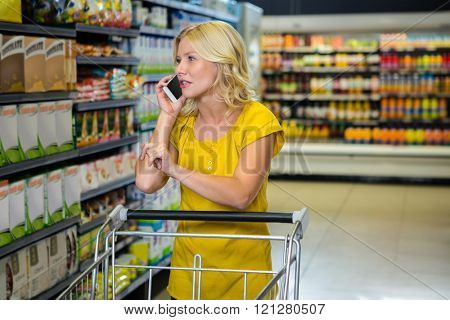 Pretty woman having phone call and pushing trolley in supermarket