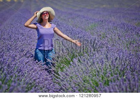 Woman in the lavander fields
