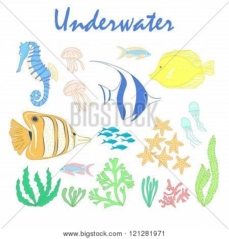 Set of  underwater design elements.