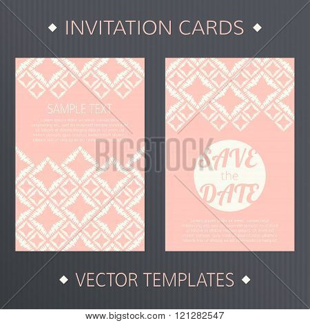 Set of Save the Date vector cards.
