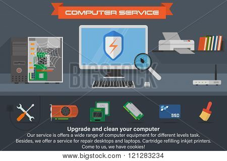 Computer service banner. Running the process of searching virus. Desktop computer with printer and b