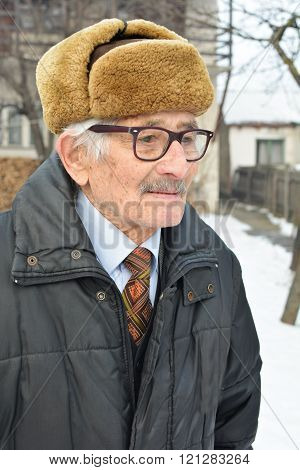 Portrait of melanholic senior