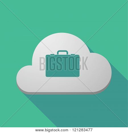 Long Shadow Cloud Icon With  A Breiefcase
