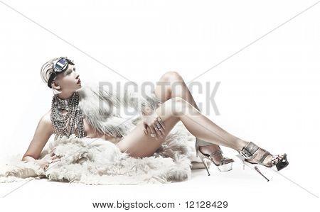 Blond beauty lying on the carpet