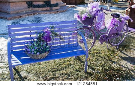 Wooden bench and old bicycle painted in purple.