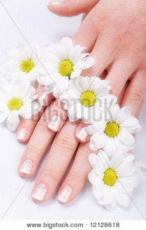 Lindas unhas com francês e flores