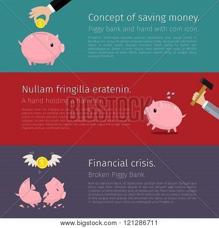 Set of Piggy bank.