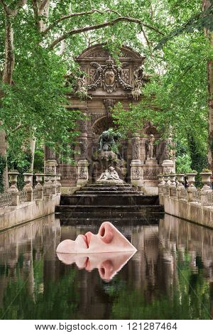 The Medici Fountain In Luxembourg Gardens, Paris, France
