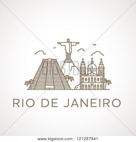 Trendy line illustration of Rio de Janeiro with different famous buildings and places of interest. Modern vector line-art design.