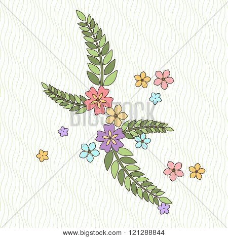 Vector background with flowers and branches in the Japanese style