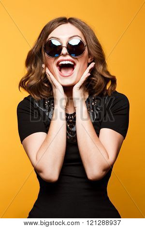 Close-up Funny image of laughing woman,emotional crazy smiling beautiful teen girl