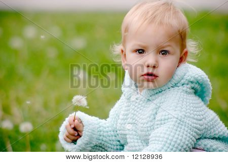 Small child holding a dandelion and sitting on the grass