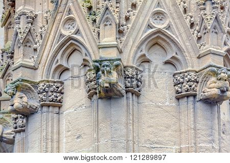 Stone Carving Of Cathedral Sainte-marie De Bayonne