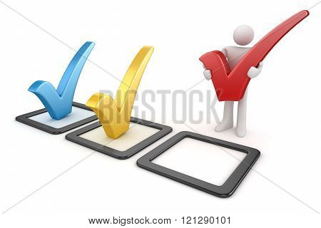 3D White Man And Colorful Checkmark Symbol