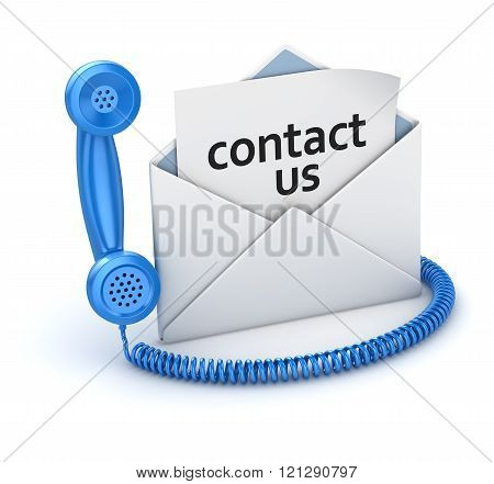 Contact Us Page In White Envelope And Blue Handset