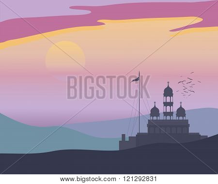 an illustration of a punjabi landscape at evening prayers with gurdwara before a colorful sunset and a flock of birds going to roost