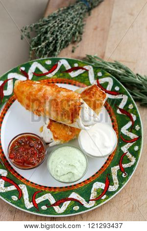 Mexican Burrito with souces