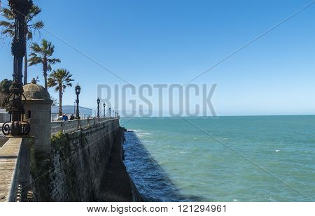 Boardwalk of Cadiz Genoves Park Andalucia Spain. Sea Sunny day and nice sky.