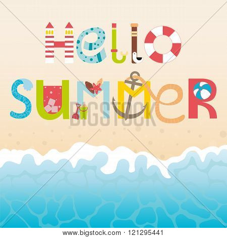 Vector lettering Hello summer with decorative elements. Cartoon type. Vector summer background with summer elements. Letters, wave, sand. Flat illustrations.