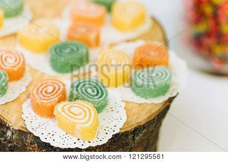 Dessert Sweet Tasty Yummy Colorful Jellies in Candy Bar On Table