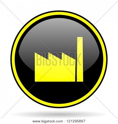 factory black and yellow modern glossy web icon