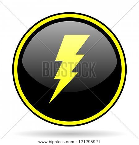 bolt black and yellow modern glossy web icon
