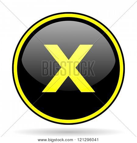 cancel black and yellow modern glossy web icon