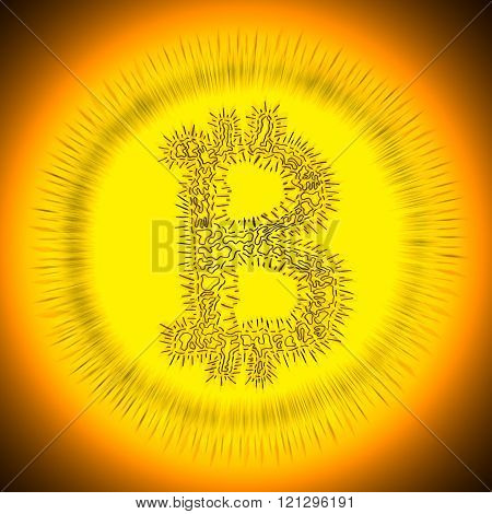Spiky Bitcoin Hand-drawn Symbol