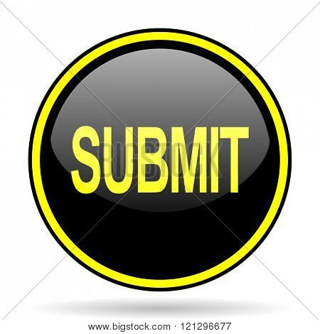 submit black and yellow modern glossy web icon