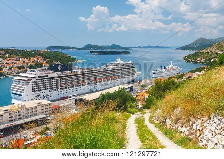 Dubrovnik, Croatia, July 02, 2010: Big Cruising Ship Of The Msc Magnifica In Croatian Town Dubrovnik