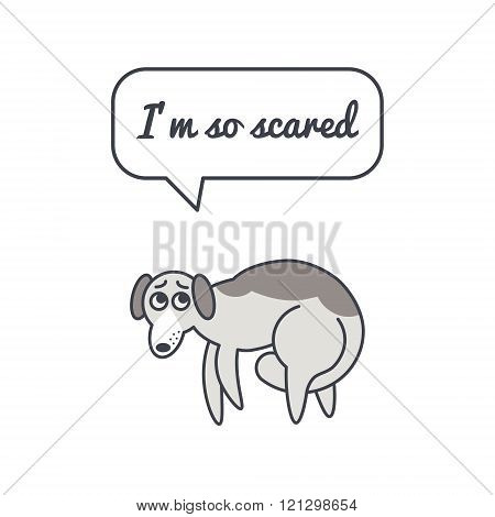 Scared dog with speech bubble and saying