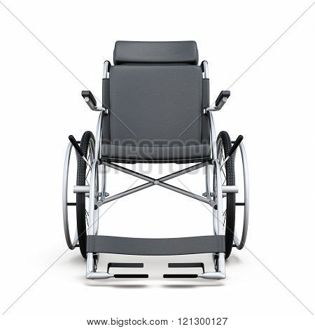 Wheelchair on a white background. Rear view. 3d rendering