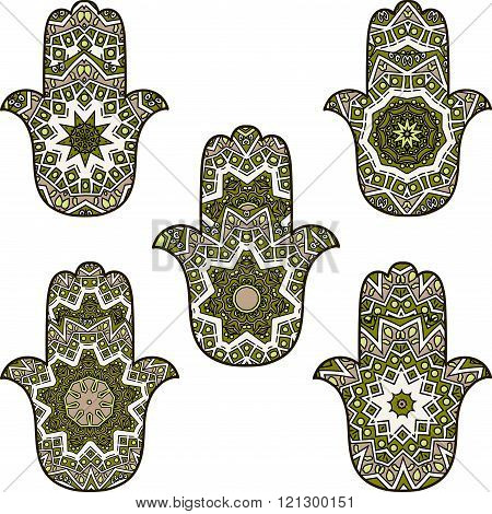 set of bright green khamsa