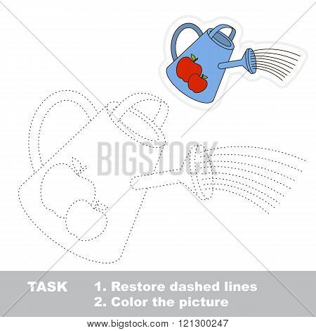Watering can in vector to be traced. Restore dashed line and color the picture. Trace game for children.